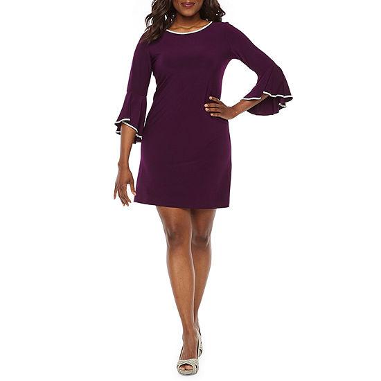 MSK 3/4 Sleeve Embellished Sheath Dress-Petite