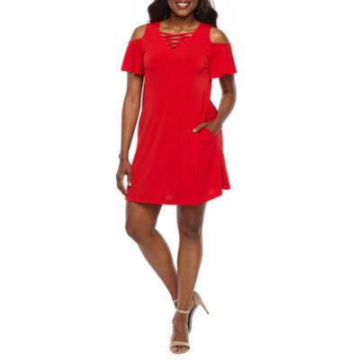 Alyx Short Sleeve Cold-Shoulder A-Line Dress-Petite