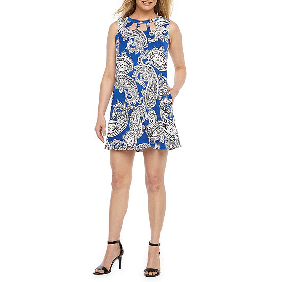 Alyx Sleeveless Paisley Puff Print A-Line Dress-Petite