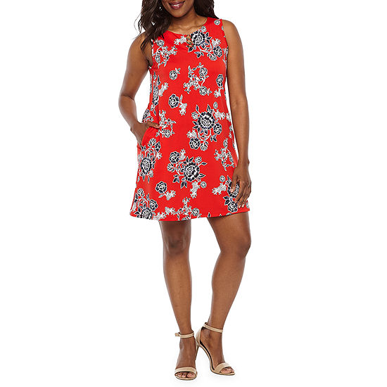 Alyx Sleeveless Floral Puff Print A-Line Dress-Petite