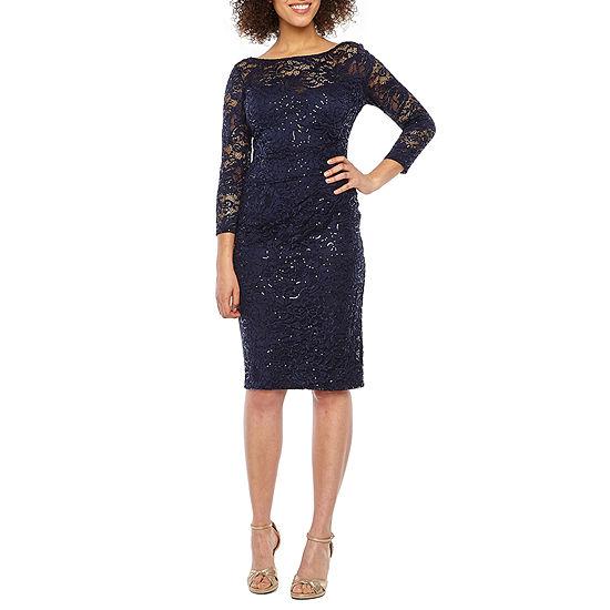 Blu Sage 3/4 Sleeve Sequin Lace Sheath Dress