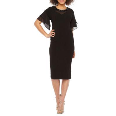 Maya Brooke Short Sleeve Embellished Shift Dress