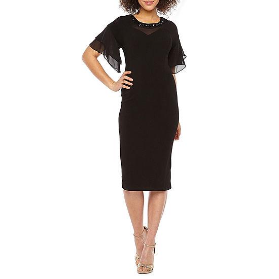 Maya Brooke Short Sleeve Embellished Midi Shift Dress