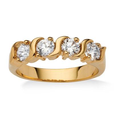 Diamonart Womens 2.5MM 1 CT. T.W. White Cubic Zirconia 18K Gold Over Brass Band