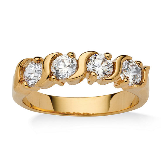 Womens 2.5MM 1 CT. T.W. White Cubic Zirconia 18K Gold Over Brass Band