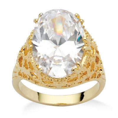 Diamonart Womens White Cubic Zirconia 14K Gold Over Brass Cocktail Ring