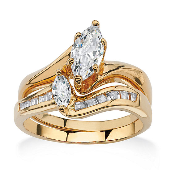 Womens 1 3/8 CT. T.W. White Cubic Zirconia 18K Gold Over Brass Bridal Set