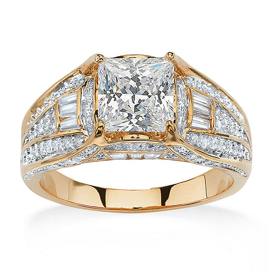 Womens 2 1/3 CT. T.W. White Cubic Zirconia 14K Gold Over Brass Engagement Ring