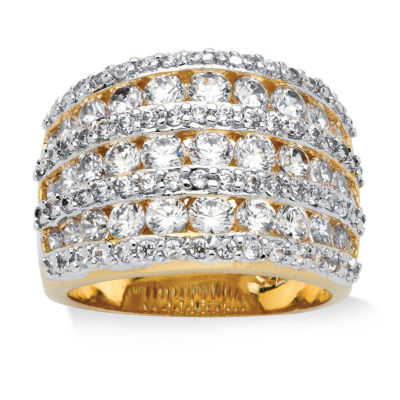 Diamonart Womens 2 3/4 CT. T.W. White Cubic Zirconia 14K Gold Over Brass Cocktail Ring