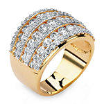 Womens 2 3/4 CT. T.W. White Cubic Zirconia 14K Gold Over Brass Cocktail Ring