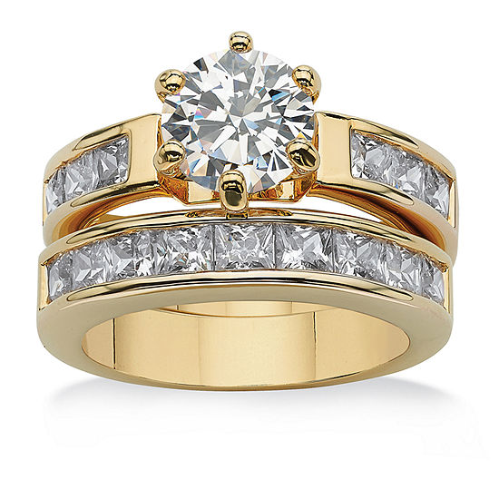 Womens 4 1/2 CT. T.W. White Cubic Zirconia 14K Gold Over Brass Bridal Set