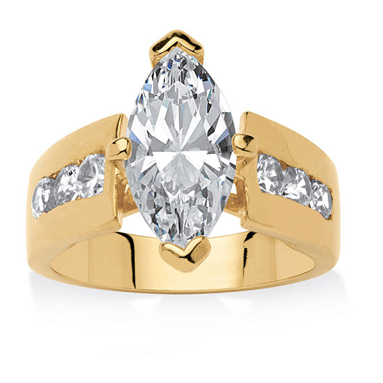 Womens 3 CT. T.W. White Cubic Zirconia 18K Gold Over Brass Engagement Ring