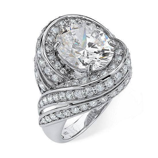 Diamonart Womens White Cubic Zirconia Platinum Over Silver Cocktail Ring