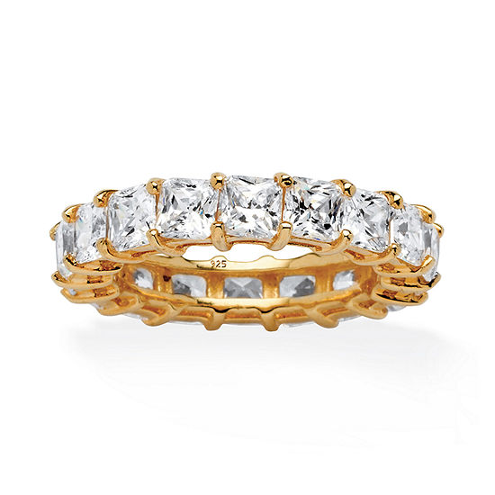 Diamonart Womens 2MM 5 1/2 CT. T.W. White Cubic Zirconia 18K Gold Over Silver Band