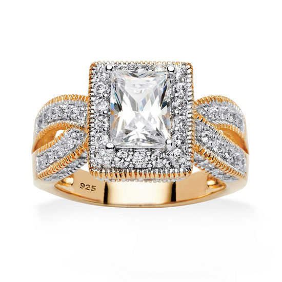 Diamonart Womens 2 Ct Tw White Cubic Zirconia 18k Gold Over Silver Engagement Ring