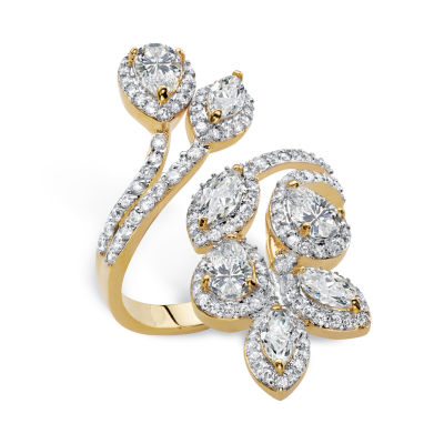 Diamonart Womens 3 1/4 CT. T.W. White Cubic Zirconia 14K Gold Over Brass Cocktail Ring