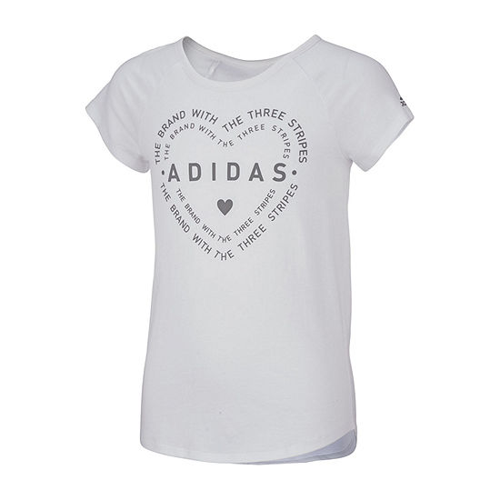 adidas Girls Round Neck Short Sleeve Graphic T-Shirt - Preschool