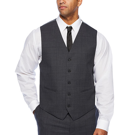 Claiborne Windowpane Classic Fit Suit Vest - Big and Tall