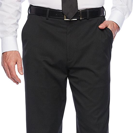 IZOD® Black Striped Flat-Front Dress Pants