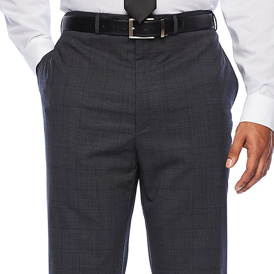 Claiborne Mens Windowpane Stretch Classic Fit Suit Pants - Big and Tall