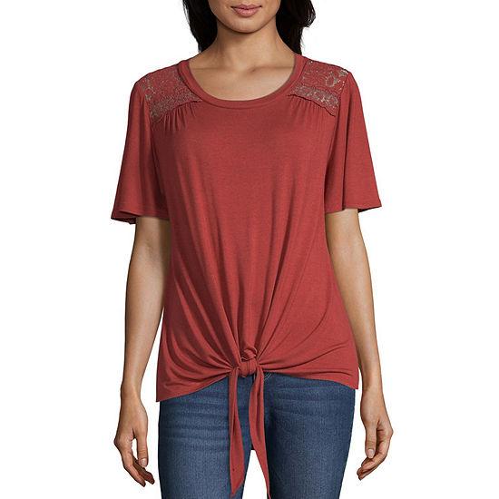 Artesia Womens Scoop Neck Short Sleeve Blouse