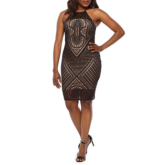 Bold Elements Burnout Dress Sleeveless Geometric Bodycon Dress