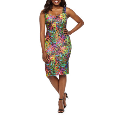 Bold Elements Sleeveless Leaf Bodycon Dress