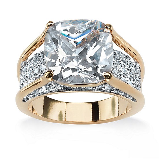 Womens 5 CT. T.W. White Cubic Zirconia 18K Gold Over Brass Engagement Ring