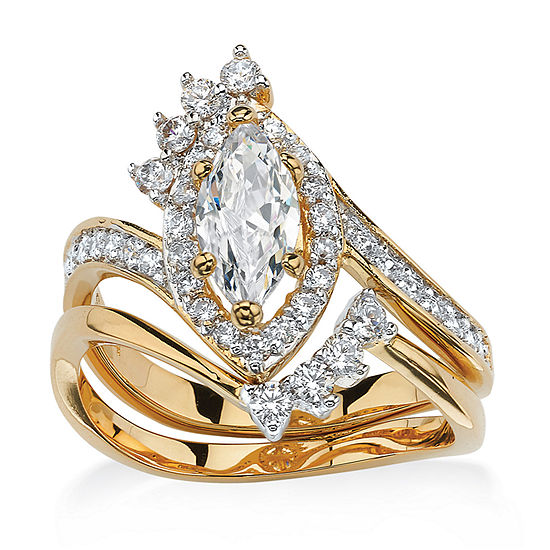 Womens 1 3/4 CT. T.W. White Cubic Zirconia 14K Gold Over Brass Bridal Set