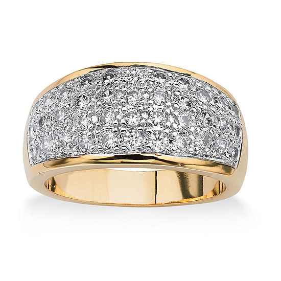 Womens 1 1/4 CT. T.W. White Cubic Zirconia 14K Gold Over Brass Cocktail Ring