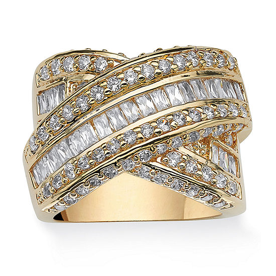 Womens 3 3/4 CT. T.W. White Cubic Zirconia 14K Gold Over Brass Cocktail Ring