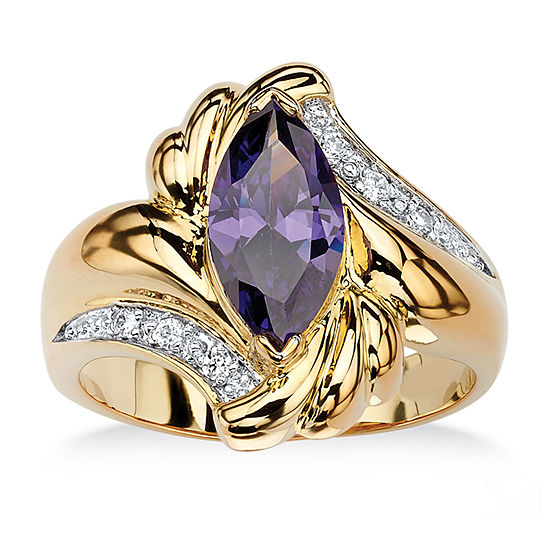 Womens 2 Ct Tw Purple Cubic Zirconia 14k Gold Over Brass Cocktail Ring