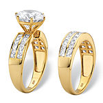 DiamonArt® Womens 5 3/4 CT. T.W. White Cubic Zirconia 18K Gold Over Silver Bridal Set