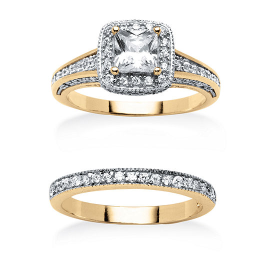 Womens 1 1/3 CT. T.W. White Cubic Zirconia 18K Gold Over Brass Bridal Set