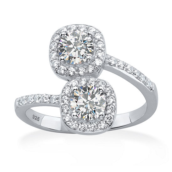 DiamonArt® Womens 1 3/8 CT. T.W. White Cubic Zirconia Platinum Over Silver Cocktail Ring