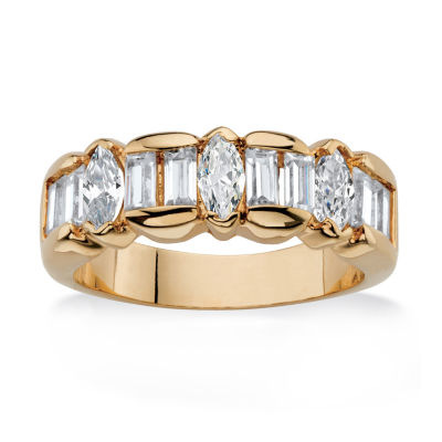 Diamonart Womens 4MM 1 7/8 CT. T.W. White Cubic Zirconia 14K Gold Over Brass Band