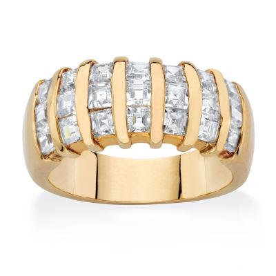 Diamonart Womens 4.5MM 1 7/8 CT. T.W. White Cubic Zirconia 14K Gold Over Brass Band