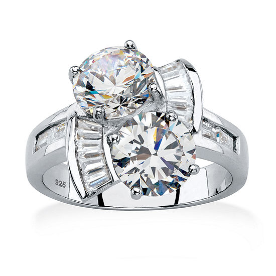 Diamonart Womens 5 1/4 CT. T.W. White Cubic Zirconia Platinum Over Silver Cocktail Ring