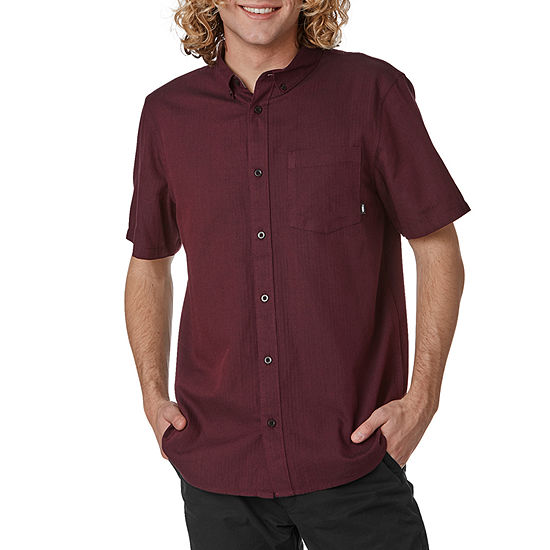 Vans Mens Collar Neck Short Sleeve Button-Front Shirt