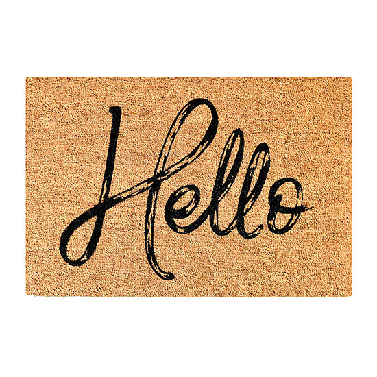 Canty Hello Black Rectangular Outdoor Doormat