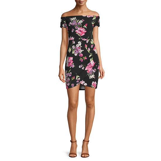 Premier Amour Off Shoulder Floral Sheath Dress