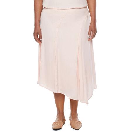 1930s Style Skirts : Midi Skirts, Tea Length, Pleated Ryegrass-Plus Womens High Low Asymmetrical Skirt 18w  Pink $17.99 AT vintagedancer.com
