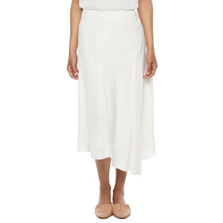 1930s Style Skirts : Midi Skirts, Tea Length, Pleated Ryegrass Womens High Low Asymmetrical Skirt 12  Beige $17.99 AT vintagedancer.com