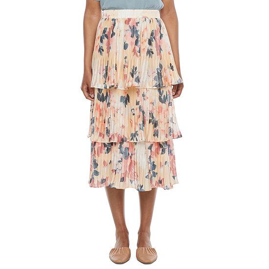 Ryegrass Womens Pleated Ruffle Midi Skirt