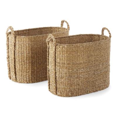 Linden Street Natural Seagrass Oval Decorative Storage Basket