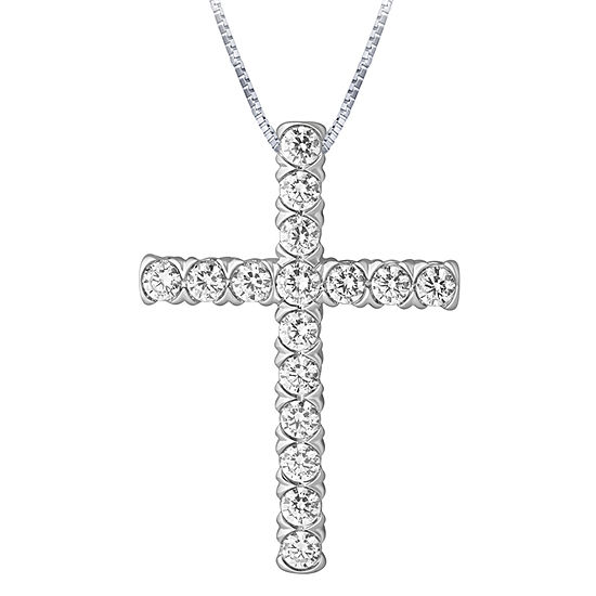 Womens 1 CT. T.W. Genuine Diamond 10K White Gold Cross Pendant Necklace