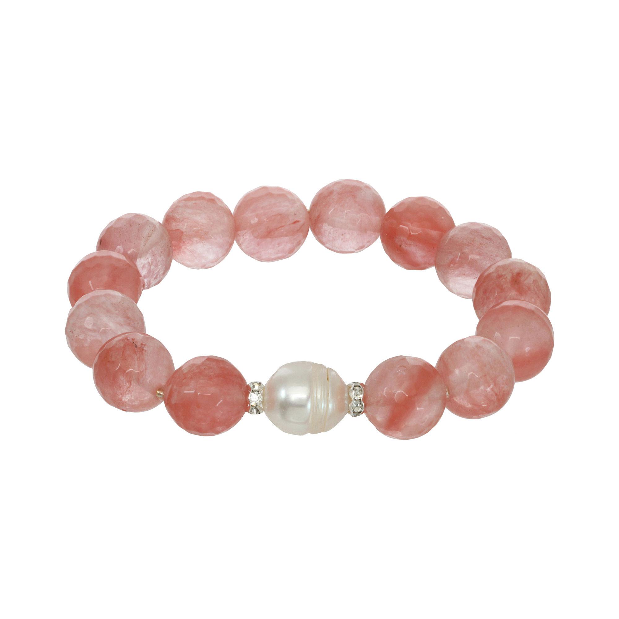 ROX by Alexa Coral Glass Stretch Bracelet