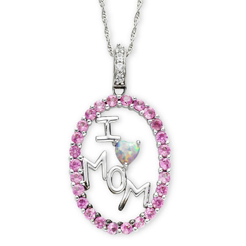 "Lab Created Pink & White Sapphire ""I Heart Mom"" Pendant Necklace"