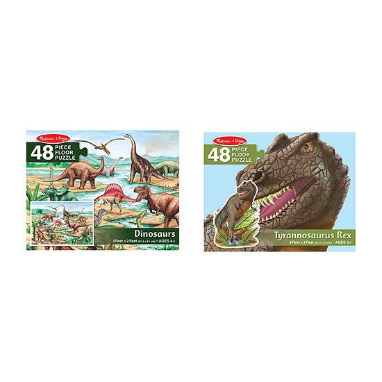 Melissa & Doug Dino And T-Rex Floor Puzzle Bundle (#421 & #431)