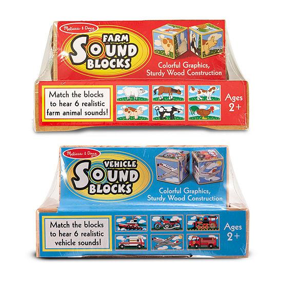 Melissa & Doug Wood Sound Blocks Bundle: Farm & Vehicle